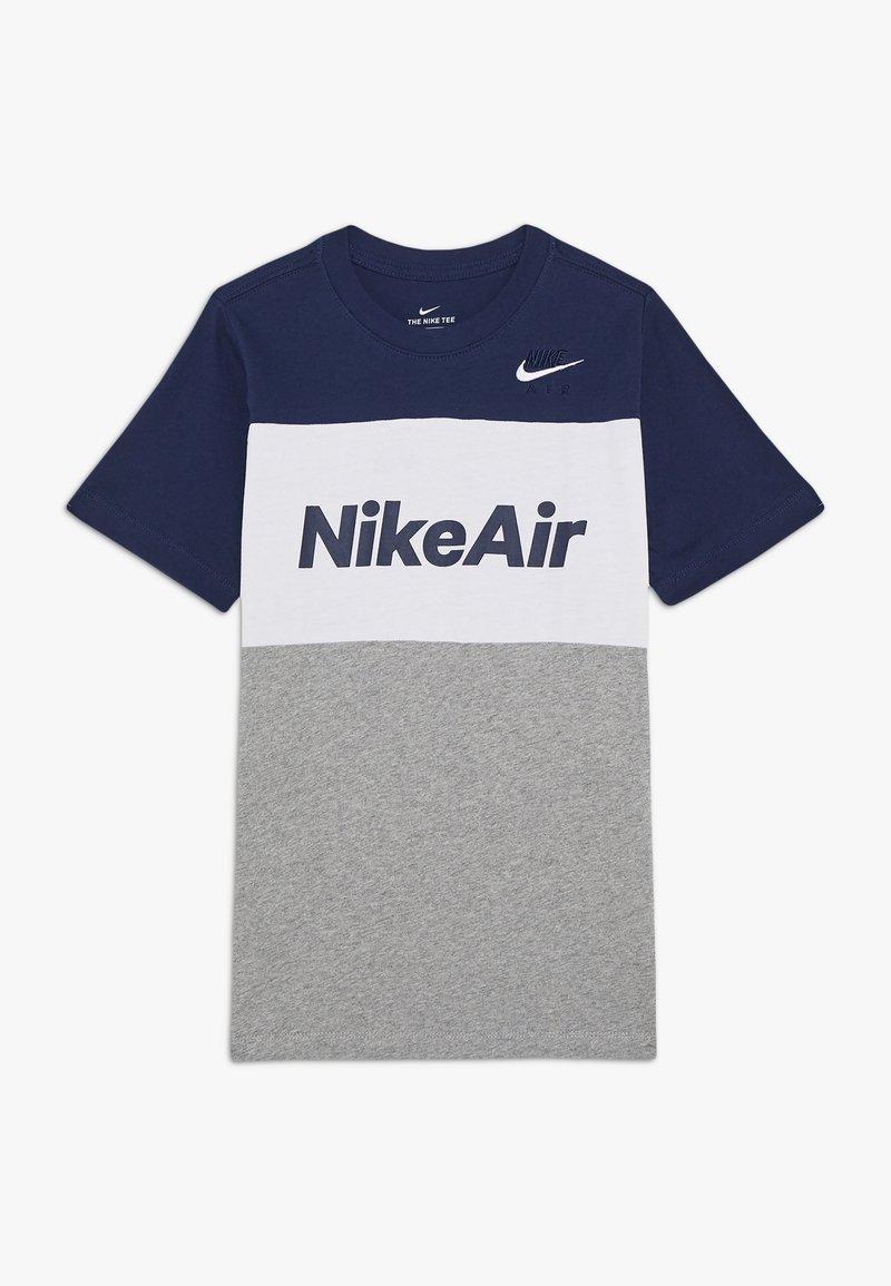 Nike Sportswear - AIR TEE - Print T-shirt - midnight navy/white/grey heather