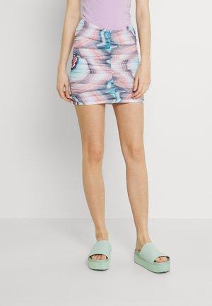PRINT RUCHED SKIRT - Mini skirt - blue/pink
