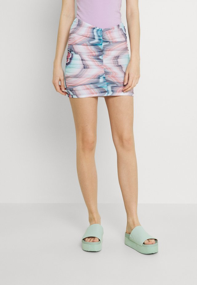 PRINT RUCHED SKIRT - Minihame - blue/pink