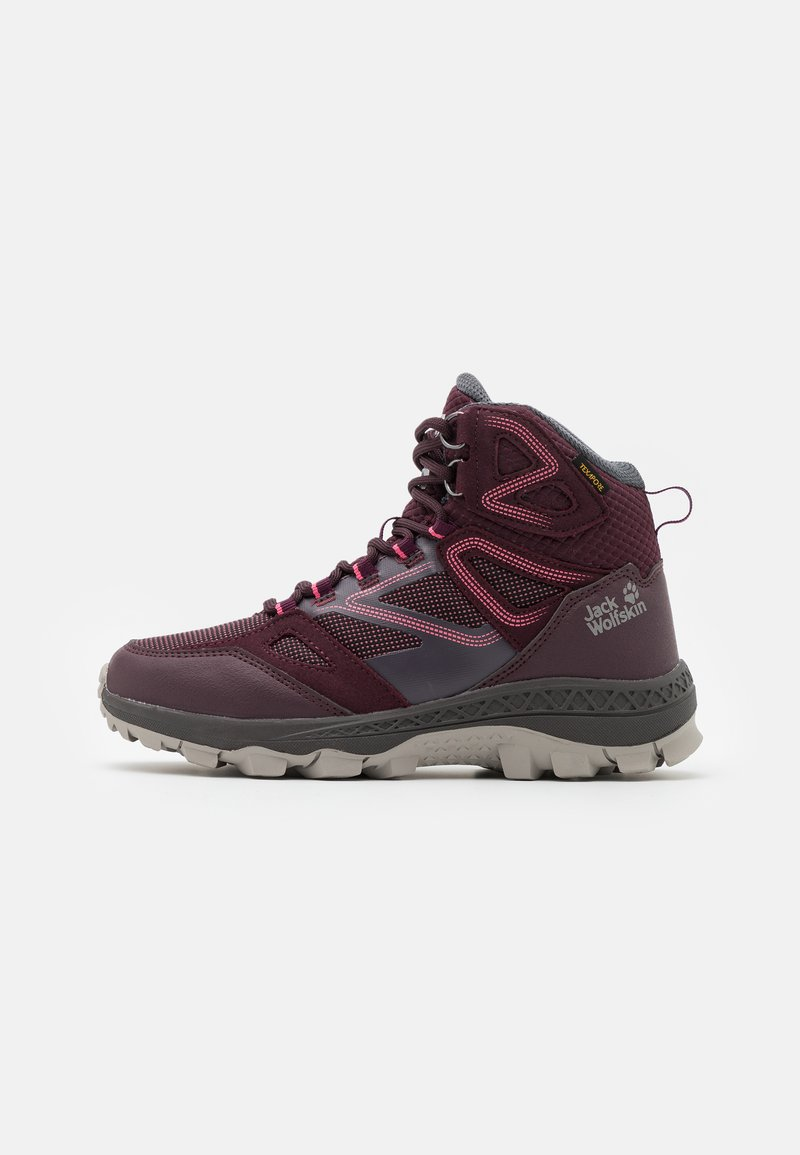 Jack Wolfskin - DOWNHILL TEXAPORE MID - Hiking shoes - burgundy/pink
