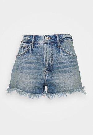 LONG FRAY HEM - Denim shorts - blue