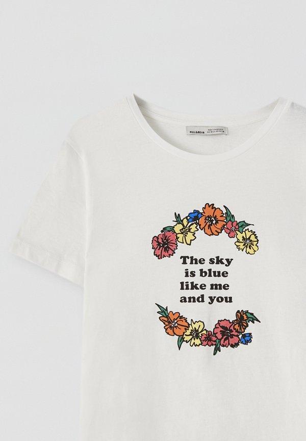 PULL&BEAR T-shirt z nadrukiem - off-white Odzież Damska QKDT TM 6