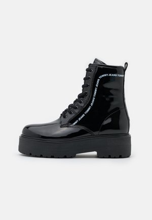 LACE UP BOOT - Platform ankle boots - black