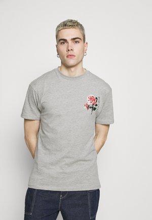 FLORAL TEE - Print T-shirt - grey marl