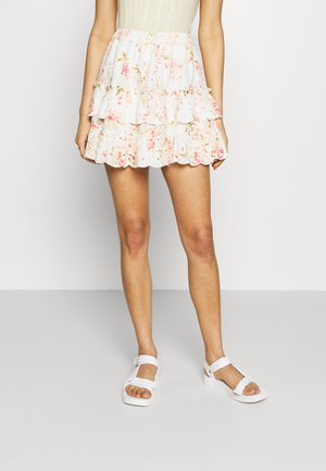 PRINT MIX RUFFLE MINI - Mini skirt - white