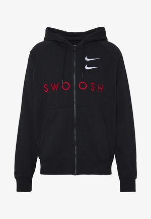 M NSW HOODIE FZ FT - Huvtröja med dragkedja - black/university red