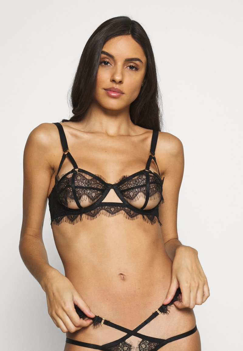 Wolf & Whistle - CHANTAL PLACEMENT CAGE BRA - Bøyle-BH - black