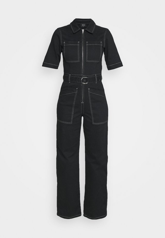 CONTRAST STITCH BOILERSUIT - Jumpsuit - black
