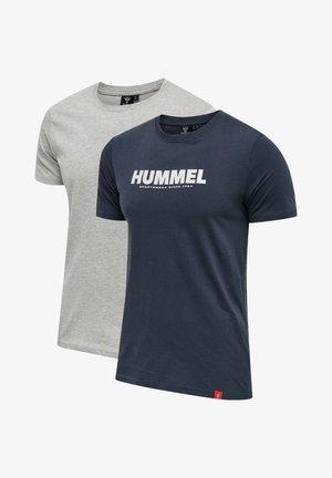 2 PACK  - T-shirt z nadrukiem - grey melange/blue nights