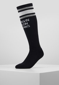 Calvin Klein Underwear - STRIPE LOGO KNEE HIGH - Knæstrømper - black - 0