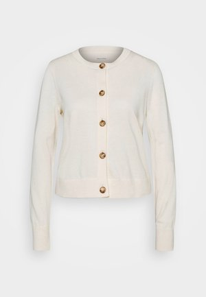 CARDIGAN LONGSLEEVE ROUND-NECK BUTTON CLOSURE - Kardigan - raw cream