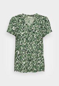 Marc O'Polo - BLOUSE V NECK SHORT SLEEVED FEMININE  - Blouse - green/white - 4