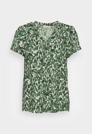 BLOUSE V NECK SHORT SLEEVED FEMININE  - Blúzka - green/white