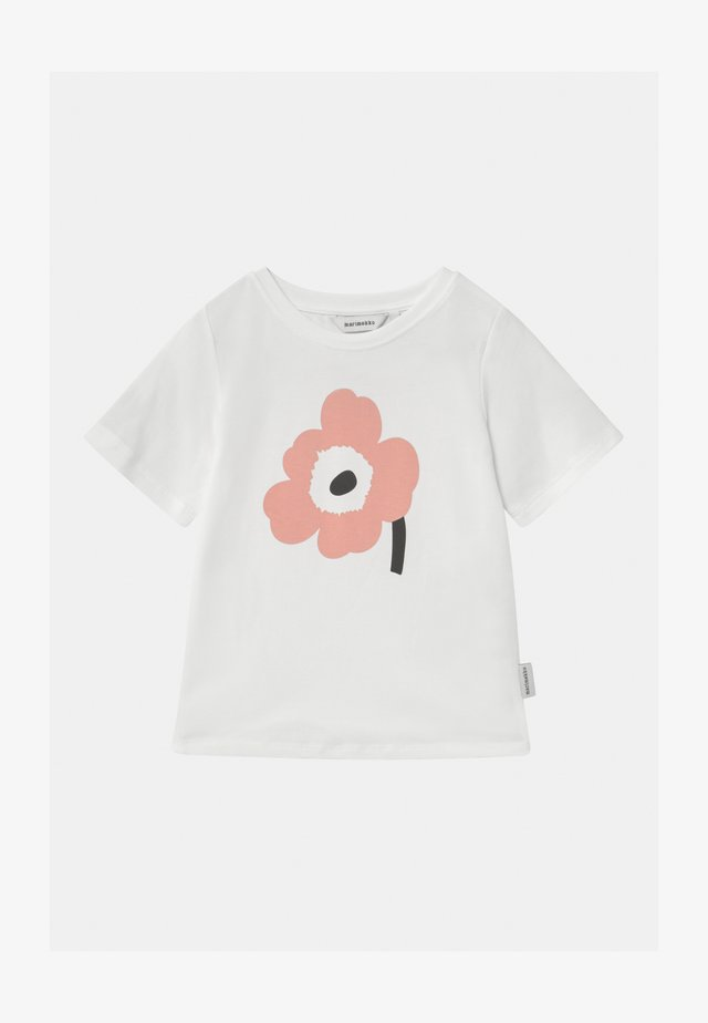 SOIDA UNIKKO - T-shirt imprimé - white/rose/black