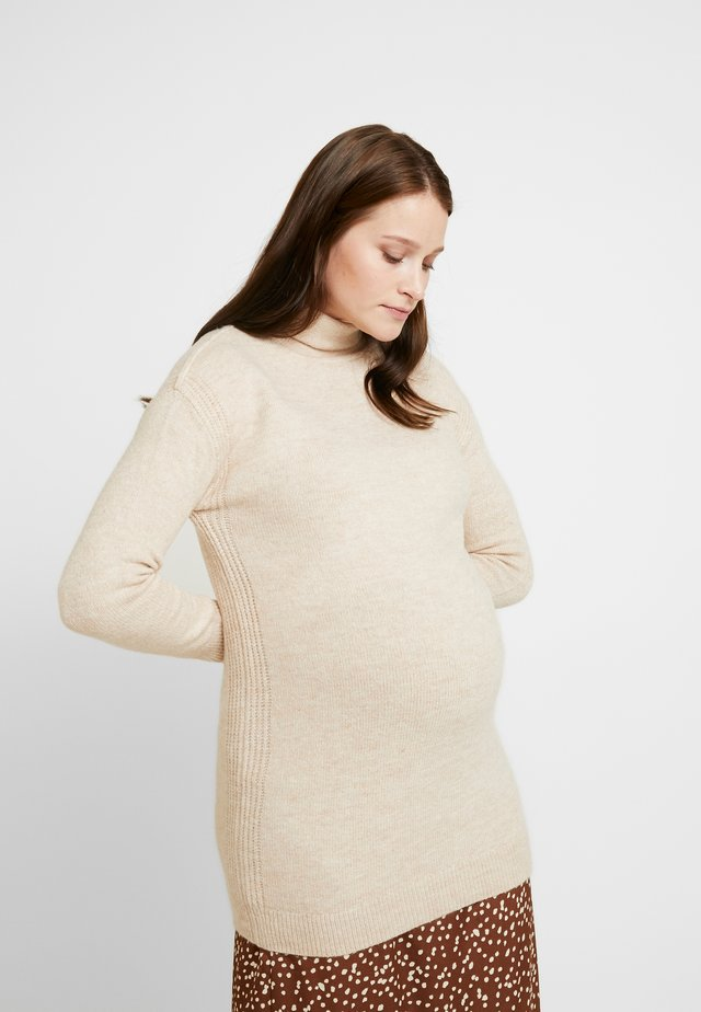 COZY FUNNEL NECK - Strikkegenser - light heather
