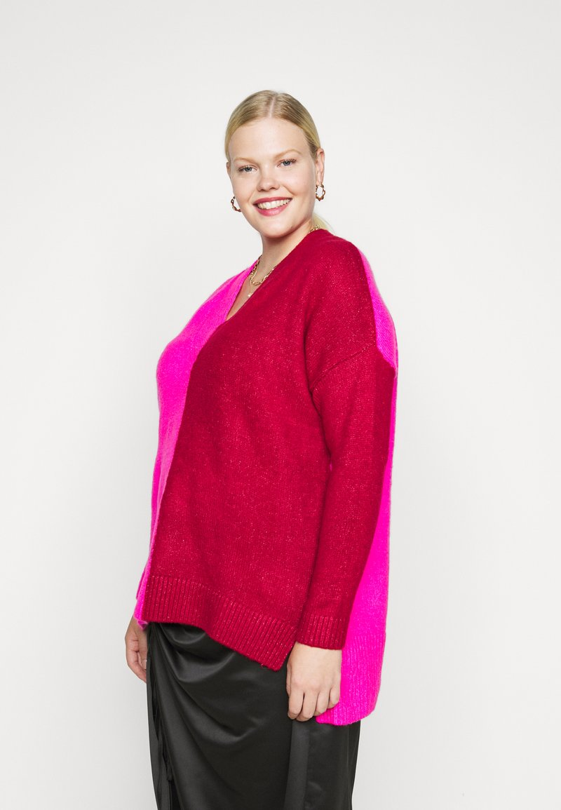 CAPSULE by Simply Be - ELEVATED ESSENTIALS VNECK - Jumper - pink/red