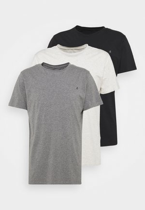 CREW TEE 3 PACK - Basic T-shirt - chalk melange / black / dark gery melange