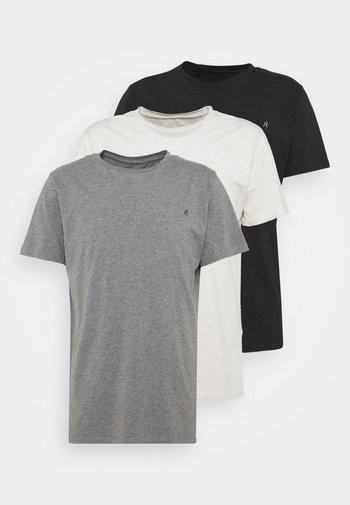 CREW TEE 3 PACK - Basic T-shirt - chalk melange / black / dark gery melange