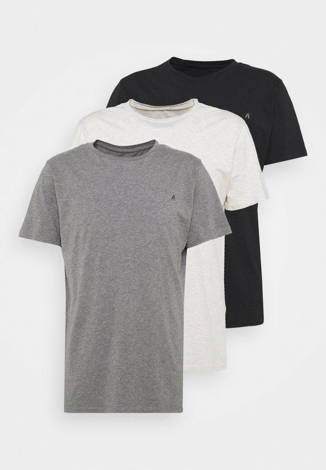 CREW TEE 3 PACK - T-shirt basic - chalk melange / black / dark gery melange