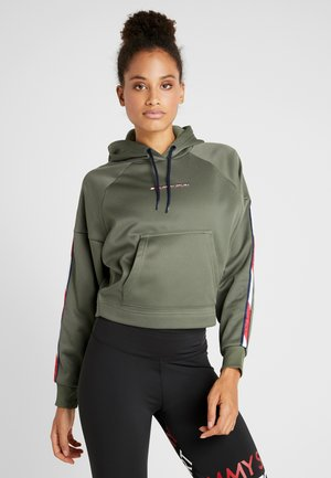 HOODY CROPPED WITH TAPE - Hoodie - green