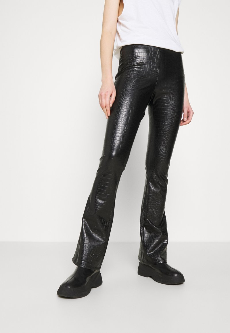 Topshop - CROC FLARE - Trousers - black