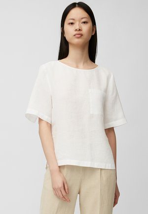 BLOUSE SHORT SLEEVE CHEST POCKET STYLE - Blouse - white linen