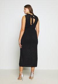 Lost Ink Plus - HIGH NECK MULTI COLUMN DRESS - Vestido de punto - black - 3