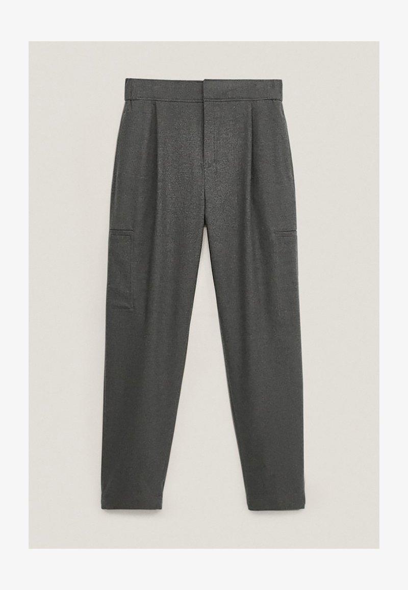 Massimo Dutti - MIT DETAIL AM SAUM - Trousers - Grey