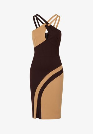 HALTERNECK COLOUR CONTRAST DRESS - Shift dress - chocolate and stone