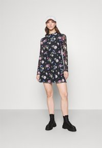 Even&Odd - FLARED ALL OVER MESH MINI DRESS - Day dress - black /blue/rose - 1