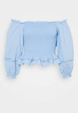 SMOCKED BARDOT BLOUSES WITH PUFF LONG SLEEVES - Blůza - pastel blue