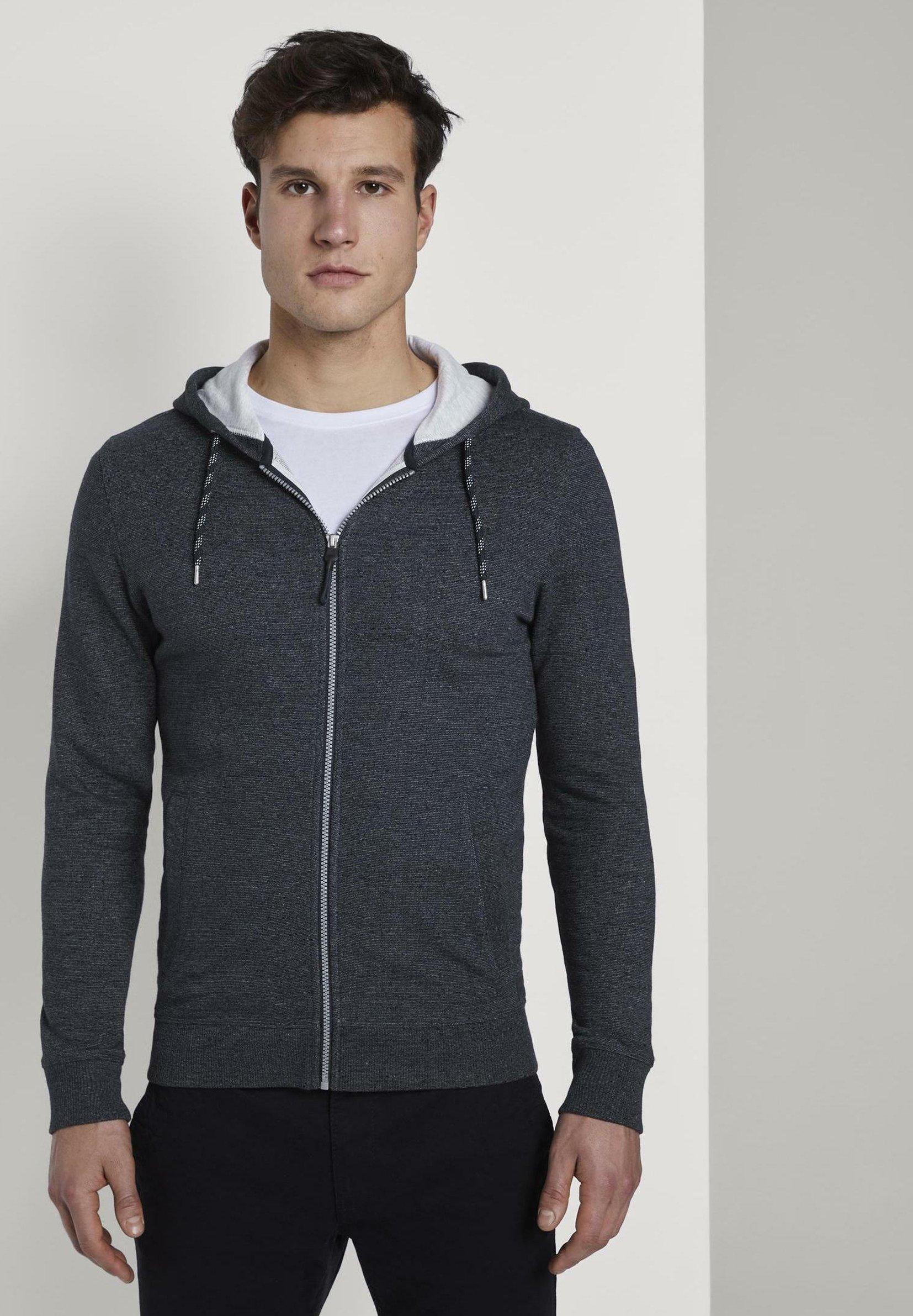 TOM TAILOR veste en sweat zippée - navy grindle