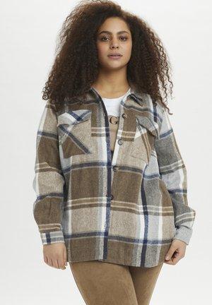 Button-down blouse - brown / grey check