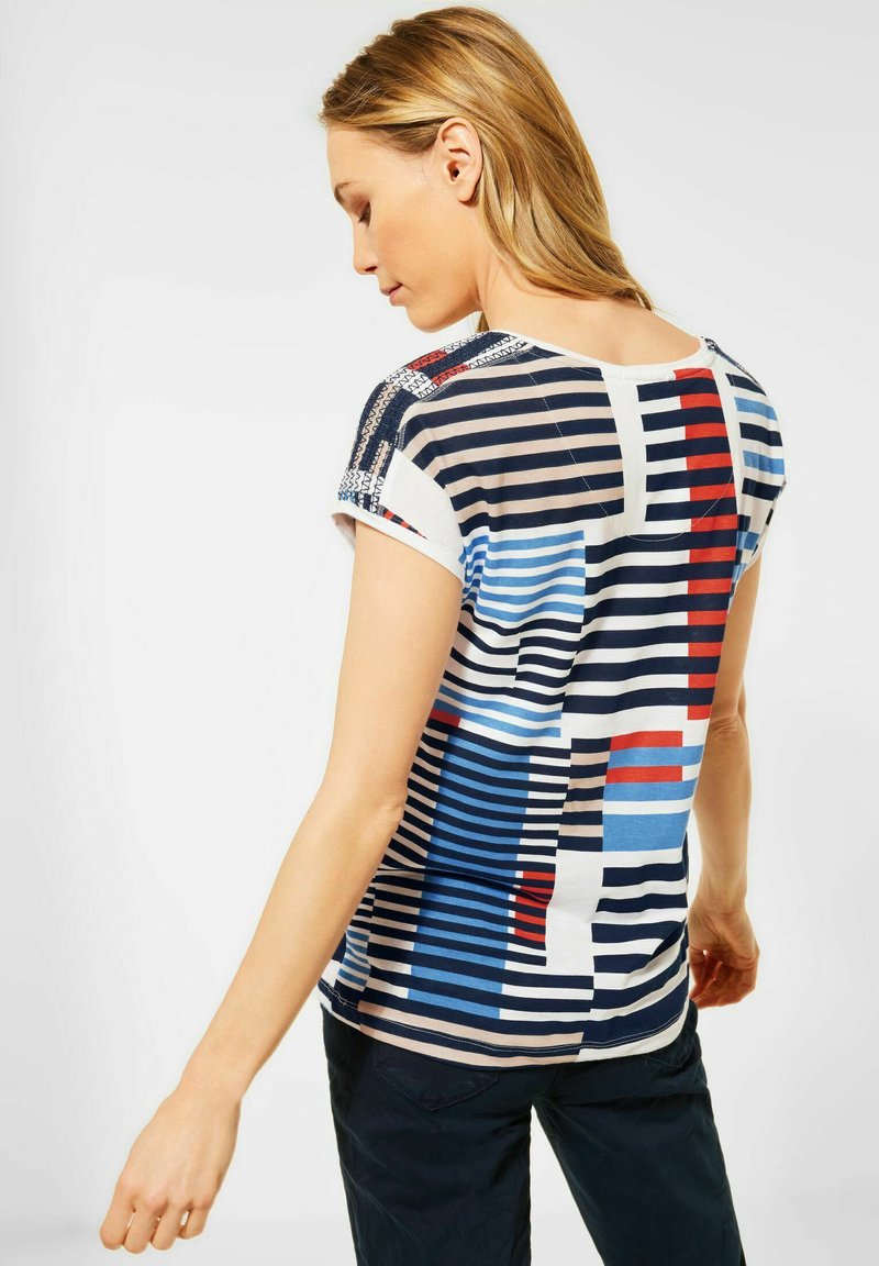 Cecil - MIT SMOK-DETAILS - Print T-shirt - blau
