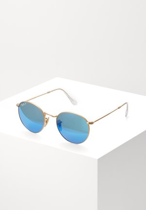 ROUND METAL - Sunglasses - gold-coloured/blue