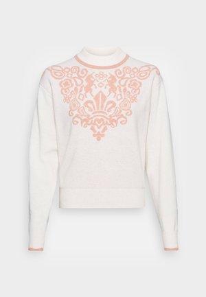 Strikkegenser - white/pink