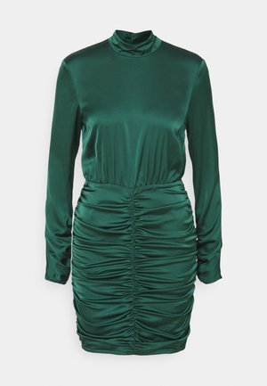 HIGH NECK RUCHE DRESS - Cocktail dress / Party dress - dark green
