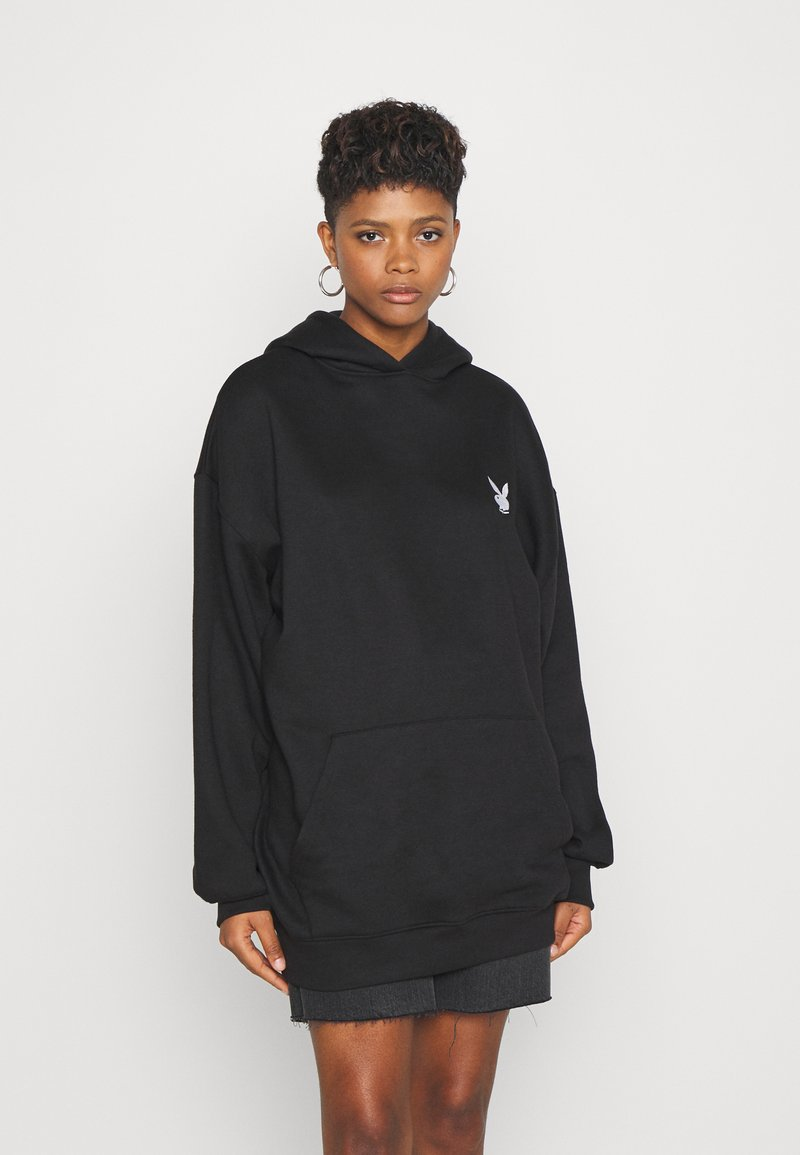 Missguided - PLAYBOY CHERRY GRAPHIC HOODY DRESS - Hoodie - black