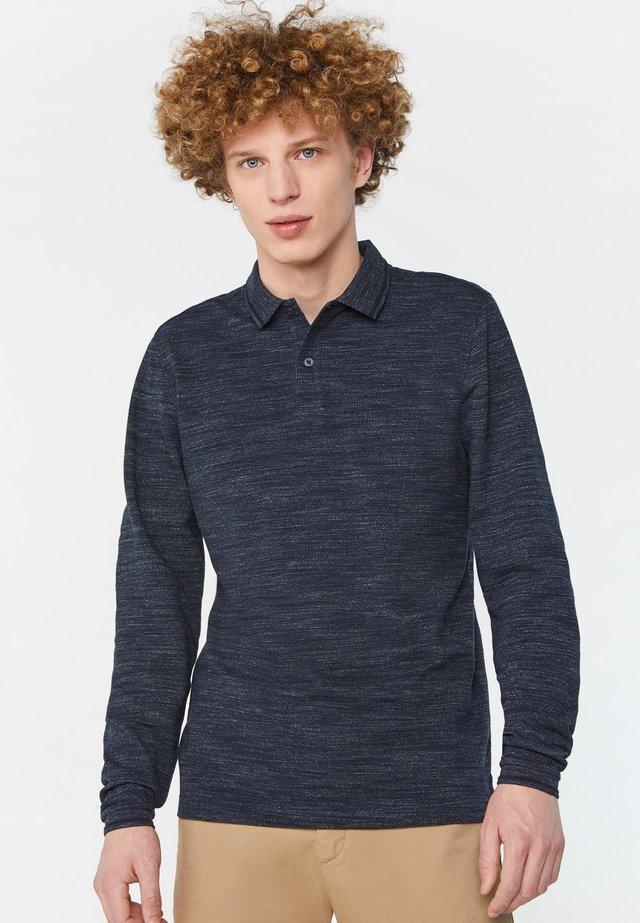WE FASHION HERREN-POLOPULLOVER MIT WABENMUSTER - Polo shirt - dark blue