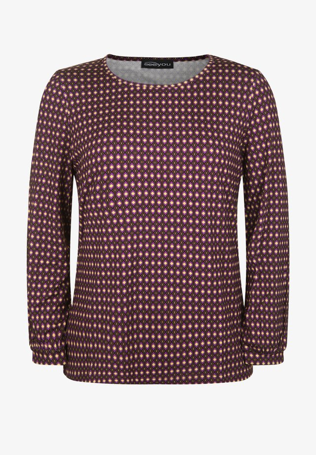MIT ALLOVER-MUSTER - Long sleeved top - brombeer