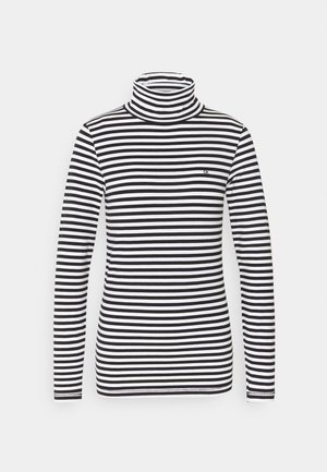 STRIPE TURTLE NECK - Longsleeve - black