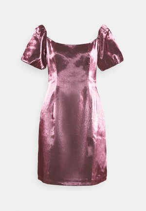 CORSET MINI DRESS WITH PUFF SHORT SLEEVES AND CURVED NECKLINE - Vestito elegante - pink metallic