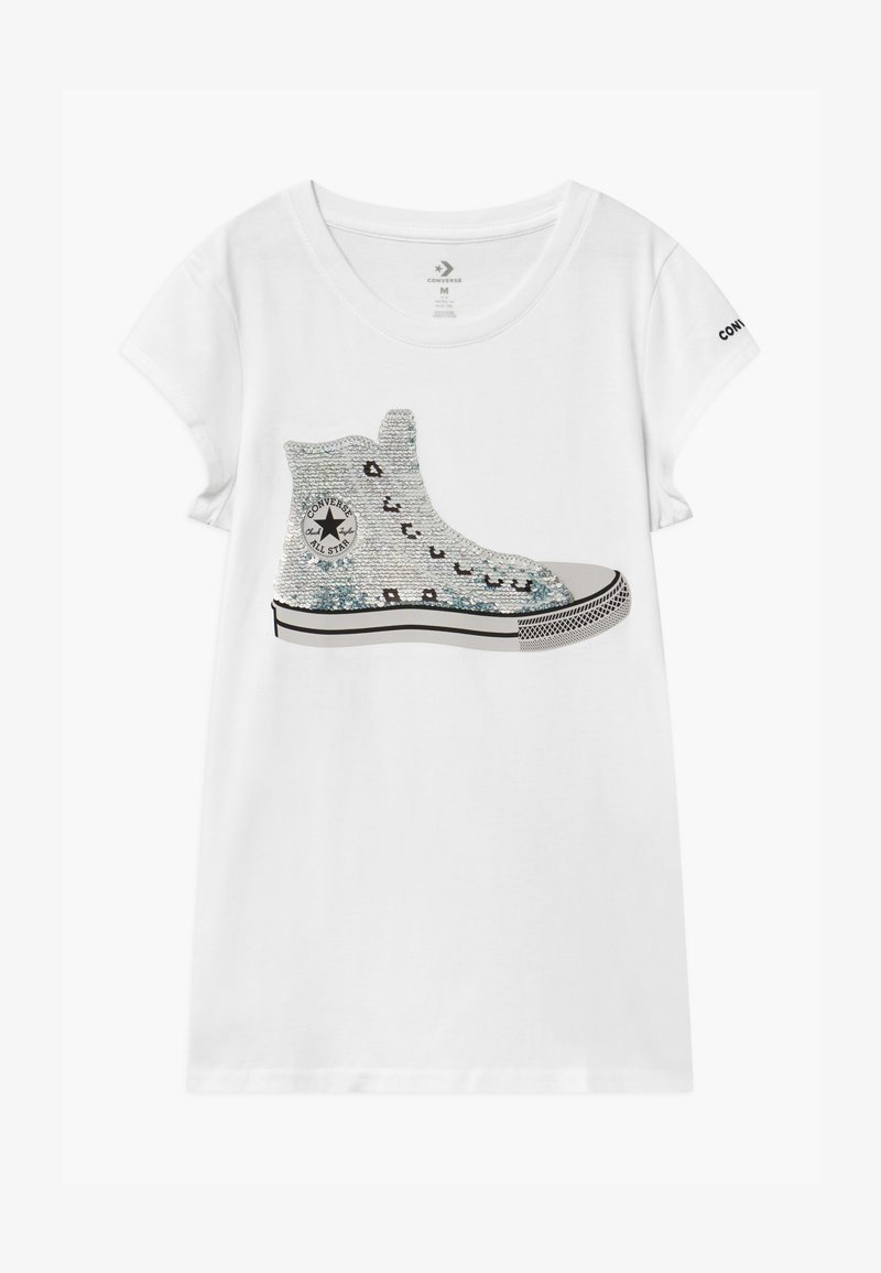 Converse - FLIP SEQUIN CHUCK TEE - Print T-shirt - white