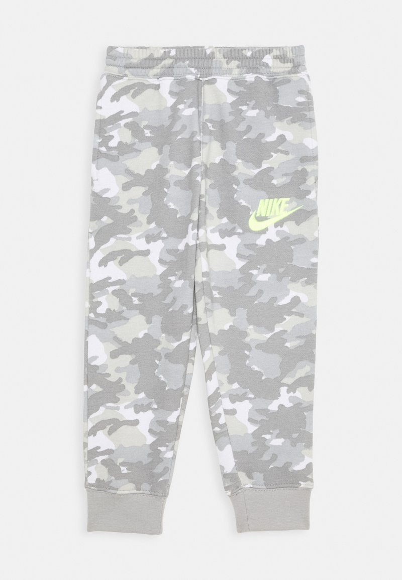 Nike Sportswear - CRAYON CAMO - Tracksuit bottoms - light smoke grey/smoke grey/volt