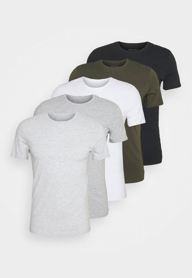 5 PACK - Basic T-shirt - black/white/light grey