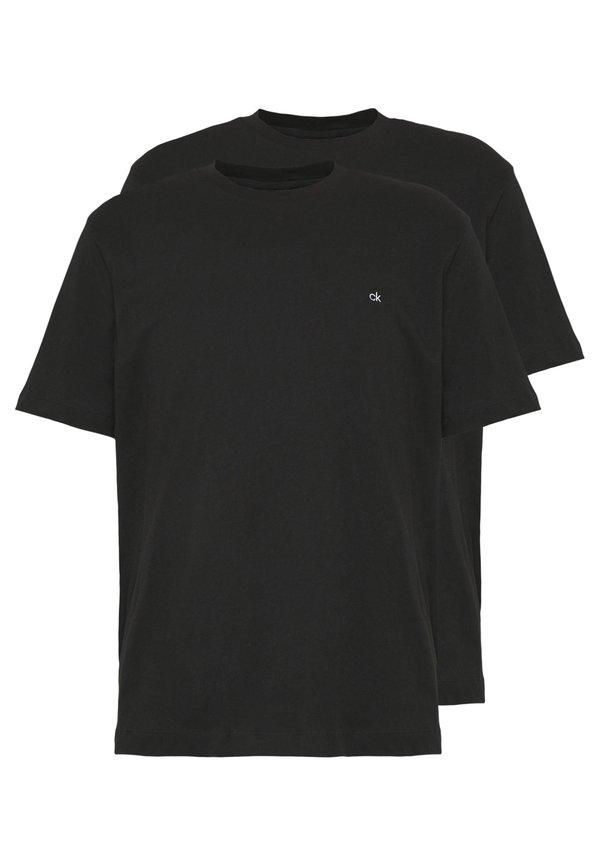 Calvin Klein LOGO 2 PACK - T-shirt basic - black/black/czarny Odzież Męska RIFR