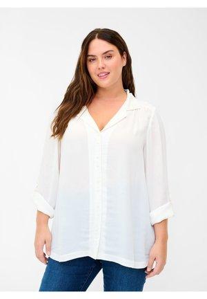MIT V-AUSSCHNITT - Button-down blouse - white