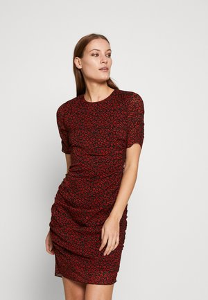 PRINTED RUCHED BODYCON - Day dress - red/multi