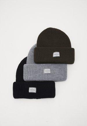 3 PACK UNISEX - Beanie - black/grey/khaki