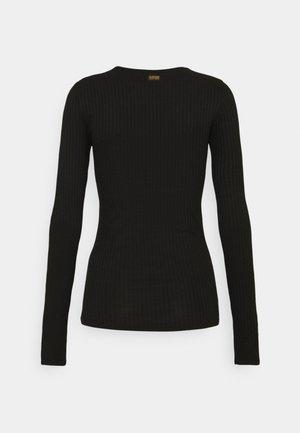 SLIM RIB LONGSLEEVE - Long sleeved top - dk black